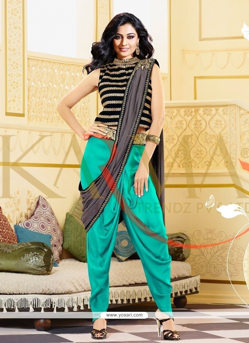 Ombre Black And Sea Green Raw Silk Patiala Suit