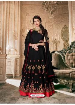 Black Wethless Georgette Stone Worked Anarkali Suit
