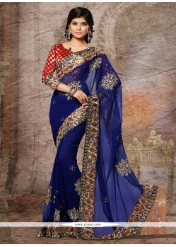 Beautiful Blue Faux Georgette And Chiffon Designer Saree
