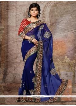 Beautiful Blue Faux Georgette And Chiffon Designer Saree