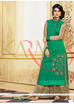 Elegant Green Raw Silk And Embroidery Palazzo Suit