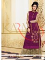 Pleasing Purple Raw Silk And Embroidery Palazzo Suit
