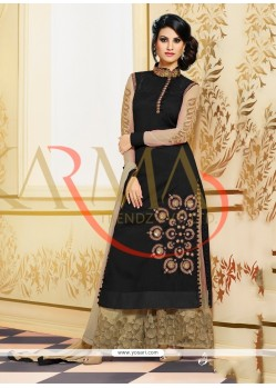 Tantalizing Black Raw Silk And Embroidery Palazzo Suit