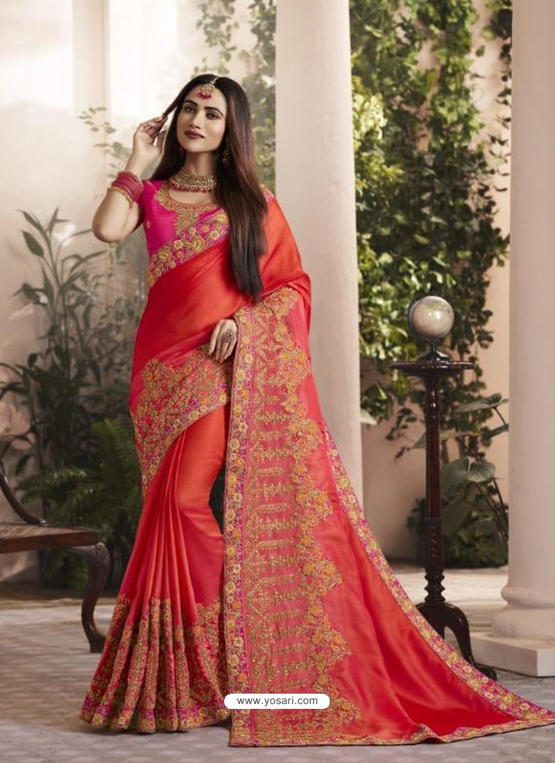 48cb701d003ff Buy Red Silk Fancy Georgette Designer Embroidered Saree