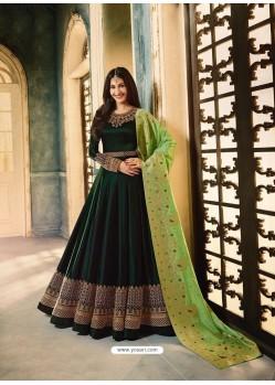 Dark Green Satin Georgette Stone Embroidered Anarkali Suit
