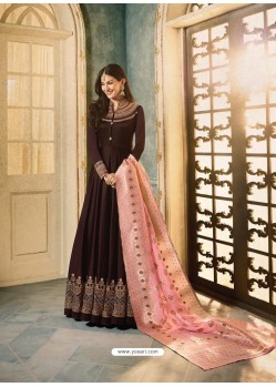 Coffee Brown Satin Georgette Stone Embroidered Anarkali Suit
