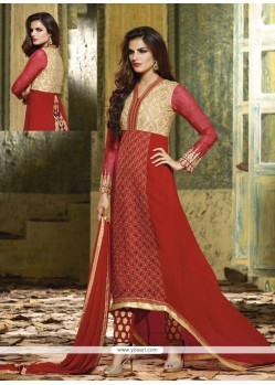Simplistic Red Georgette Pant Style Suit