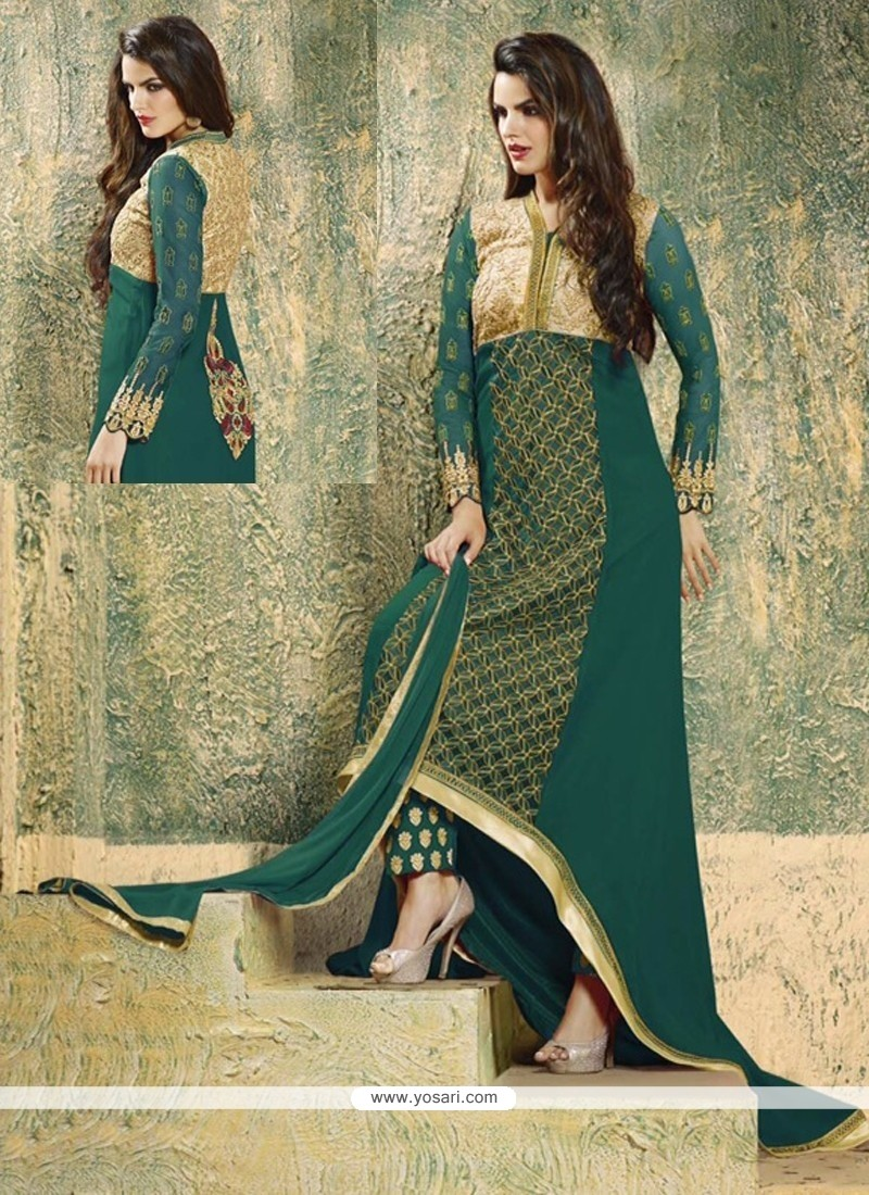 Refreshing Green Georgette Pant Style Suit