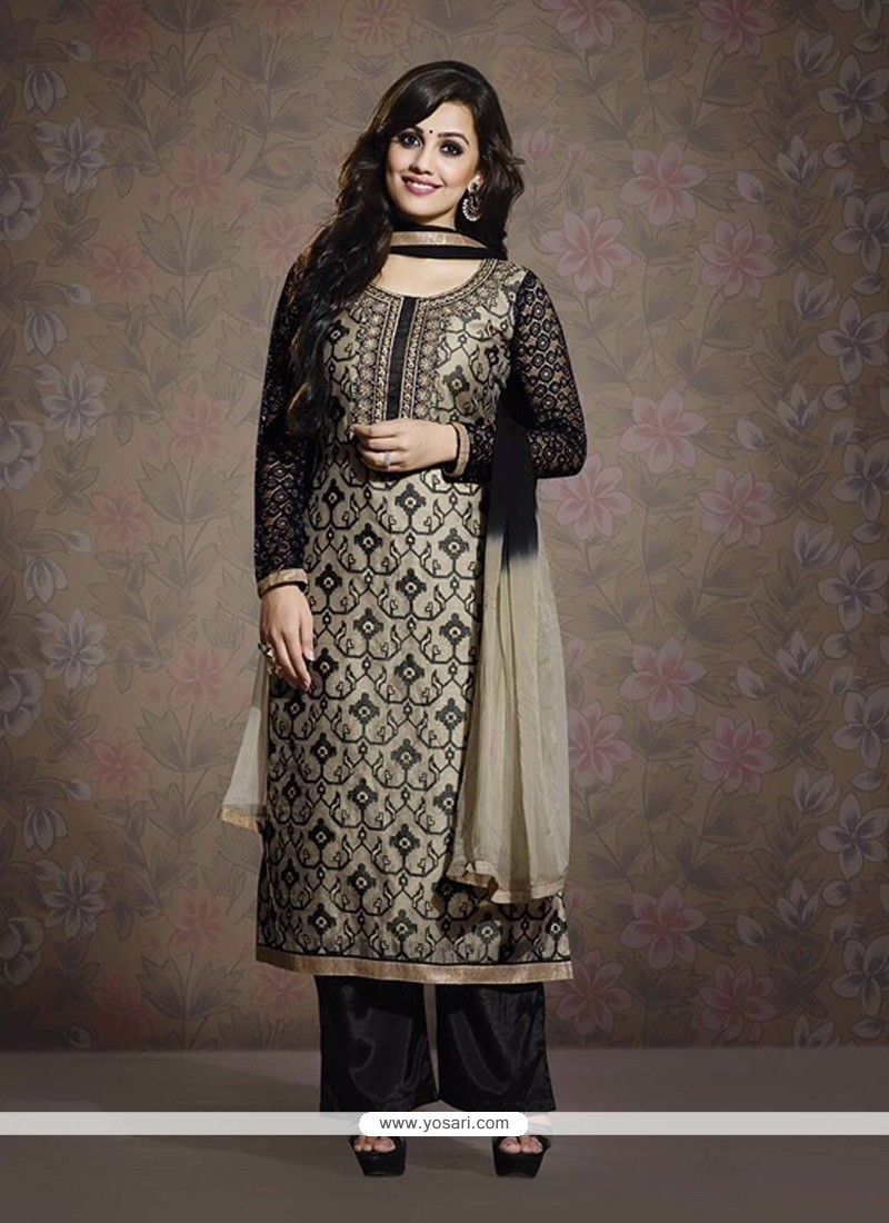 Black And Grey Chanderi Pakistani Suit