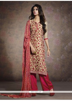 Red And Beige Chanderi Pakisatni Suit