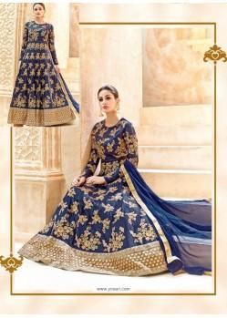 Navy Blue Swiss Shadow Designer Anarkali Suit