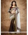 Off White And Black Viscose Designer Saree