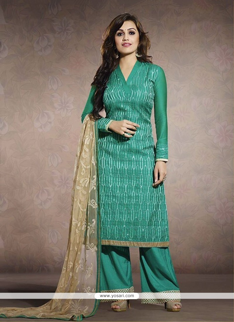 Teal Green Chanderi Salwar Kameez