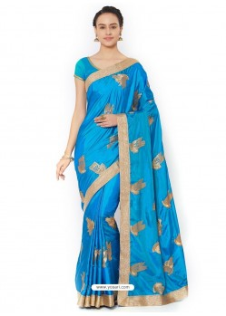Blue Silk Blend Saree