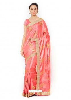 Peach Silk Blend Saree