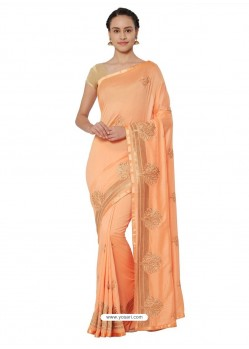 Light Orange Georgette Saree