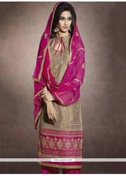 Modish Beige Chanderi Salwar Suit