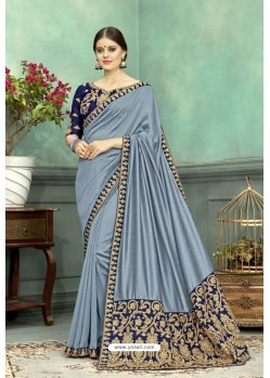 Aqua Grey Chanderi Silk Embroidered Designer Saree