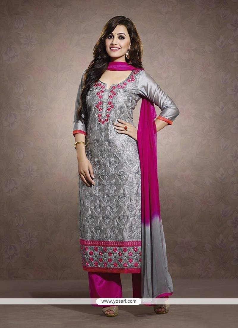 Awesome Grey Embroidery Chanderi Salwar Suit