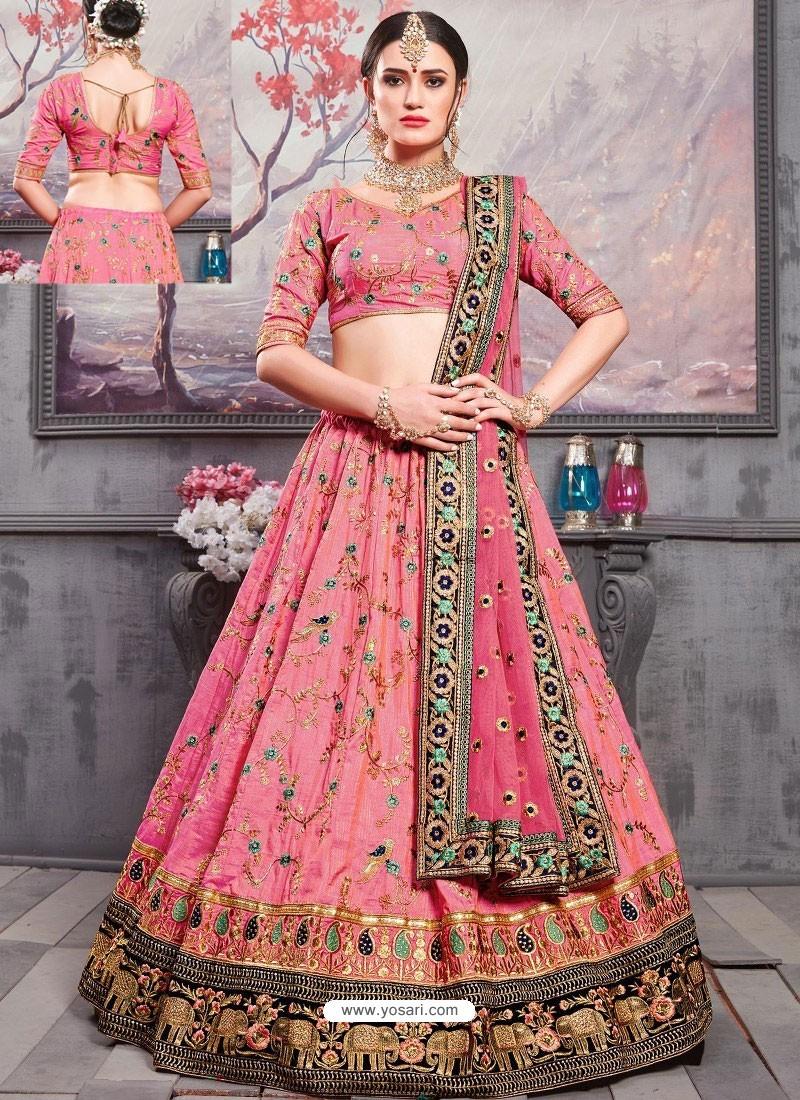937bbbca75 Buy Hot Pink Banarasi Silk Heavy Embroidered Designer Lehenga Choli ...