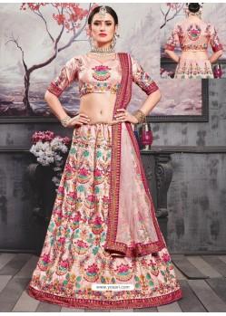 Pink Silk Heavy Embroidered Designer Lehenga Choli