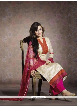 Fabulous Cream Chanderi Salwar Suit