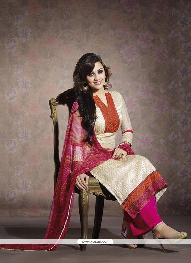 Fabulous Cream Chanderi Salwar Suit