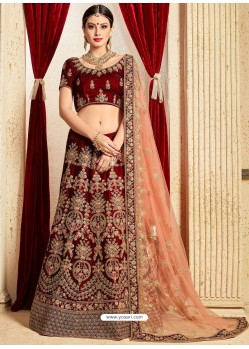 Beautiful Maroon Pure Velvet Stone Embroidrered Bridal Lehenga Choli
