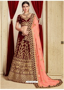 Excellent Maroon Pure Velvet Stone Embroidrered Bridal Lehenga Choli