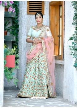 Sea Green Silk Embroidered Designer Lehenga Choli