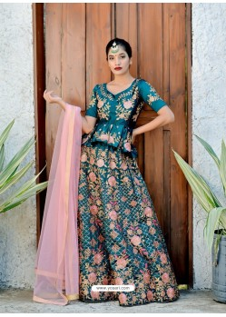 Teal Satin Silk Embroidered Designer Lehenga Choli
