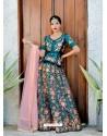 Teal Satin Silk Embroidered Designer Lehenga Choli