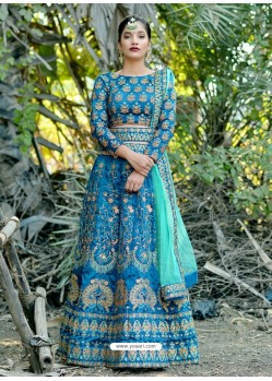 Teal Blue Silk Embroidered Designer Lehenga Choli