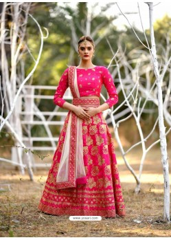 Fuchsia Silk Embroidered Designer Lehenga Choli