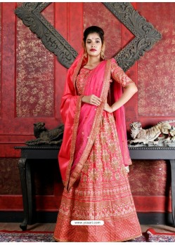 Crimson Silk Embroidered Designer Lehenga Choli