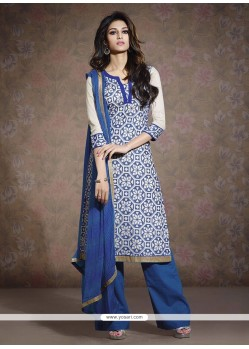 Flashy White And Blue Chanderi Salwar Suit