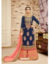Navy And Peach Faux Georgette Heavy Embroidered Sarara Suit