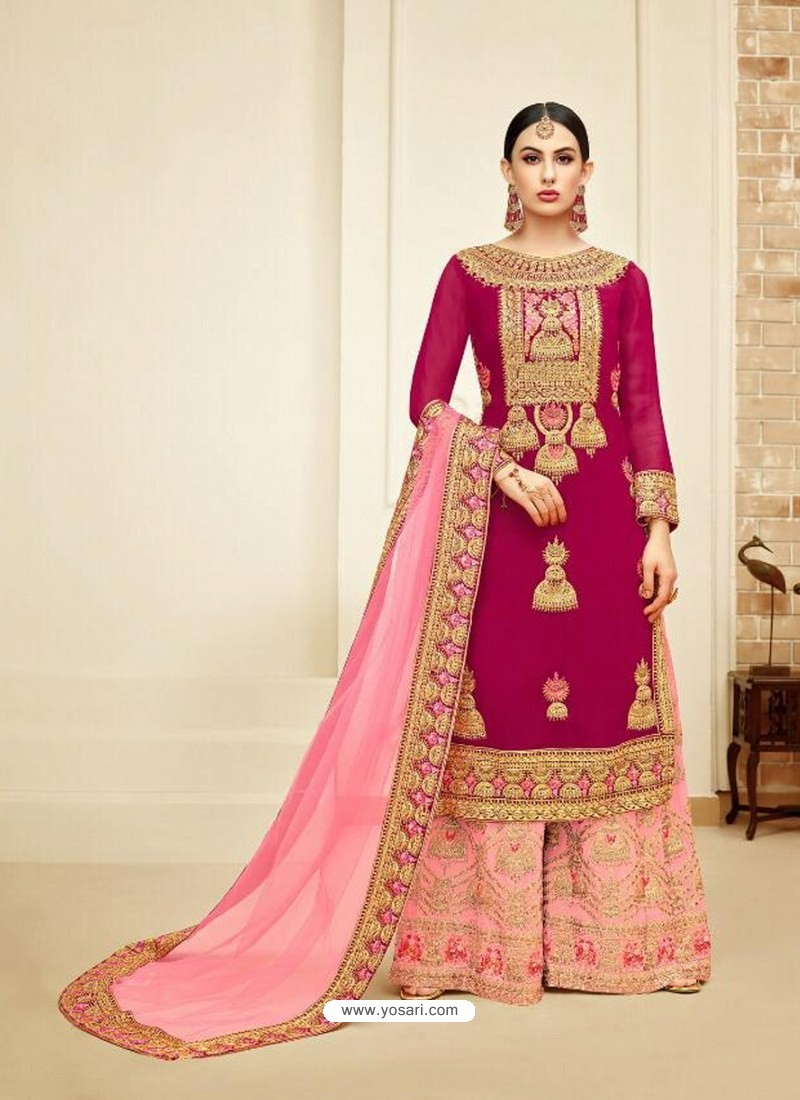 Rose Red And Pink Faux Georgette Heavy Embroidered Sarara Suit