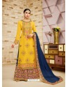 Yellow Faux Georgette Heavy Embroidered Sarara Suit