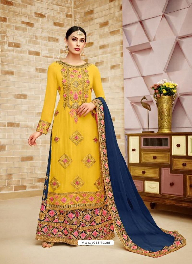 73930c40cc Buy Yellow Faux Georgette Heavy Embroidered Sarara Suit | Palazzo ...