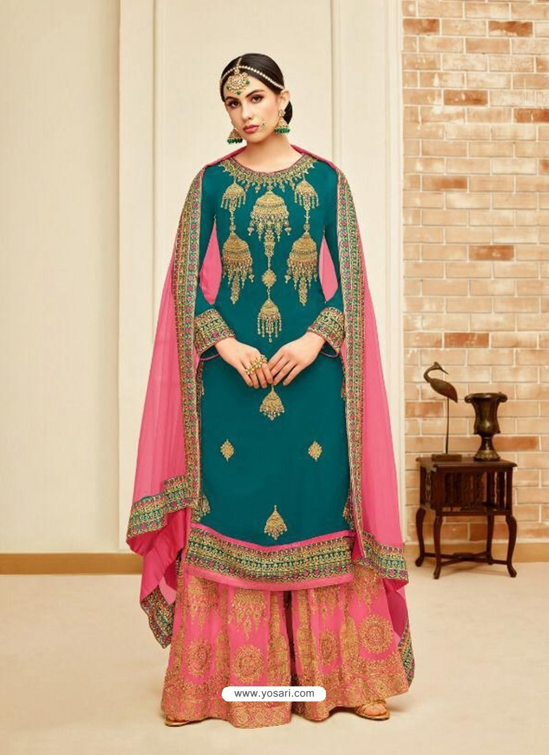 Teal And Pink Faux Georgette Heavy Embroidered Sarara Suit