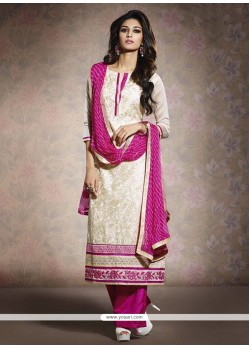 Off White And Pink Chanderi Salwar Suit