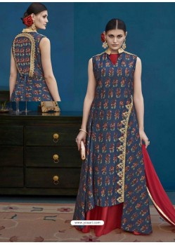 Navy Blue Thapa Silk Printed Floor Length Suit