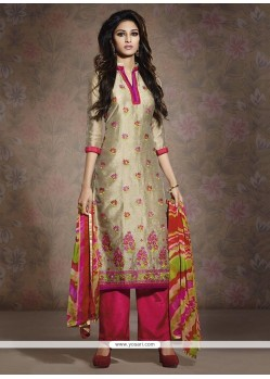 Glorious Beige And Pink Chanderi Salwar Suit