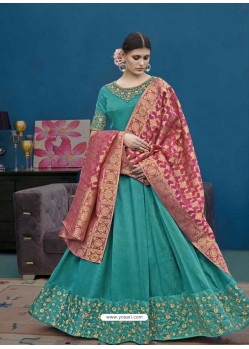 Aqua Mint Thapa Silk Emroidered Floor Length Suit