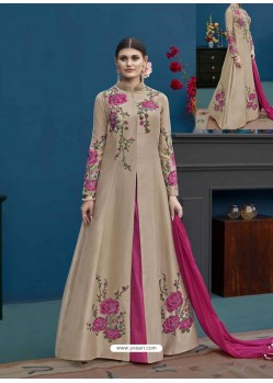 Light Brown And Pink Thapa Silk Emroidered Floor Length Suit