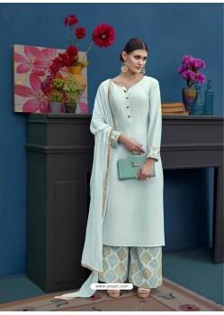 Sky Blue Thapa Silk Designer Palazzo Suit