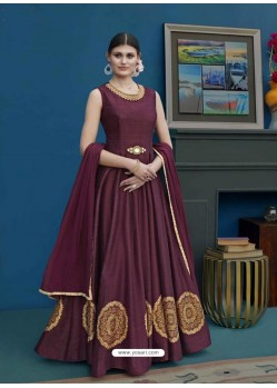 Maroon Thapa Silk Emroidered Floor Length Suit