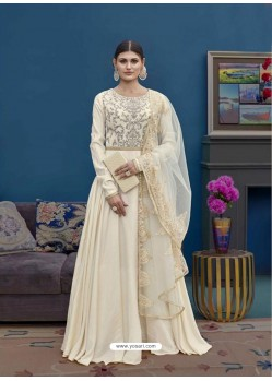 Off White Barfi Silk Emroidered Floor Length Suit