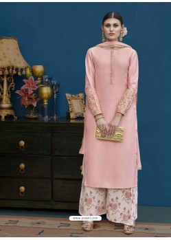 Pink Thapa Silk Emroidered Designer Palazzo Suit